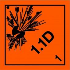Class 1.1D Explosive Placard