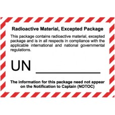 Radioactive Material Excepted Quantity Label