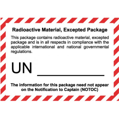 Radioactive Material Excepted Quantity Label On A Roll Of
